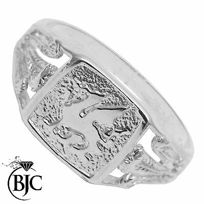 BJC® Solid Sterling Silver Welsh Wales Prince Feather Rings Unisex In Size J - W