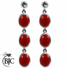 Load image into Gallery viewer, BJC® 9ct White Gold Natural Red Coral Triple Drop Dangling Studs Earrings