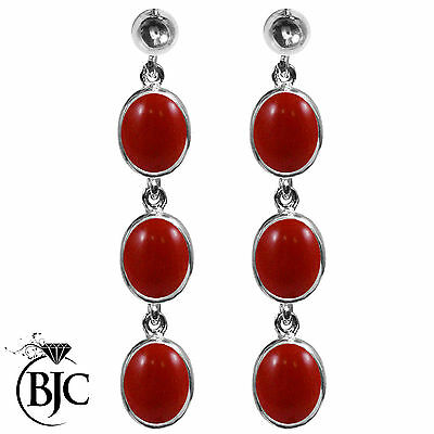 BJC® 9ct White Gold Natural Red Coral Triple Drop Dangling Studs Earrings