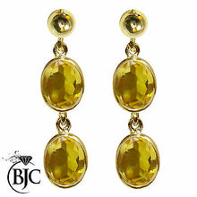 Load image into Gallery viewer, BJC® 9ct Yellow Gold Natural Citrine Oval Double Drop Dangling Studs Earrings