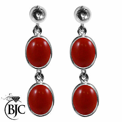 BJC® 9ct White Gold Natural Red Coral Oval Double Drop Dangling Studs Earrings