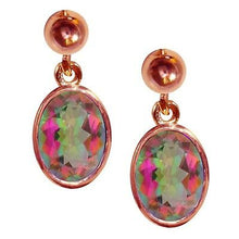 Load image into Gallery viewer, BJC® 9ct Rose Gold Mystic Topaz Oval Single Drop Dangling Studs Earrings