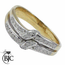 Load image into Gallery viewer, BJC® 9ct Yellow Gold Diamond 0.12ct Cluster Size L Engagement Dress Ring R76