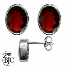 Load image into Gallery viewer, BJC® 9ct White Gold Natural Almandine Garnet Oval Stud Earrings Studs Brand New