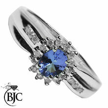 Load image into Gallery viewer, BJC® 9ct White Gold Tanzanite & Diamond Cluster Size L Engagement Ring R19