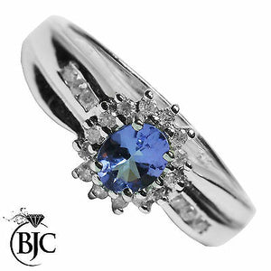 BJC® 9ct White Gold Tanzanite & Diamond Cluster Size L Engagement Ring R19
