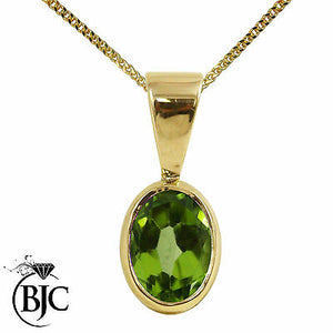 BJC® 9ct Yellow Gold Natural Peridot Solitaire Drop Oval Pendant & Necklace