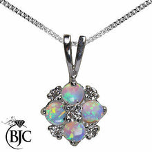 Load image into Gallery viewer, BJC® 9ct White Gold Natural Opal & Diamond 0.40ct 0.17ct Pendant Necklace