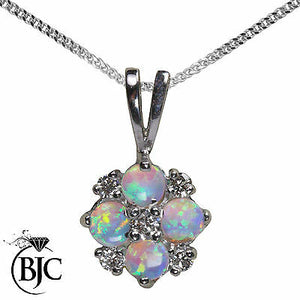 BJC® 9ct White Gold Natural Opal & Diamond 0.40ct 0.17ct Pendant Necklace