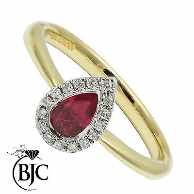 BJC® 9ct Yellow Gold Ruby & Diamond Cluster Size N Engagement Dress Ring R4