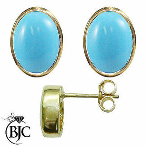 BJC® 9ct Yellow Gold Natural Turquoise Oval Stud Earrings 3.00ct Studs Brand New