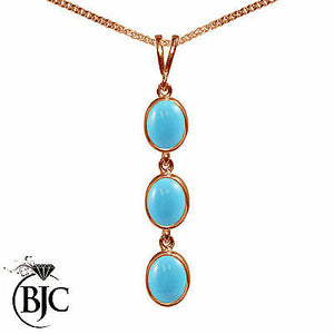 BJC® 9ct Rose Gold Natural Turquoise Triple Drop Oval Pendant & Necklace
