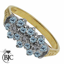 Load image into Gallery viewer, BJC® 9ct Yellow Gold Blue Topaz & Diamond Cluster Size N Engagement Ring R203