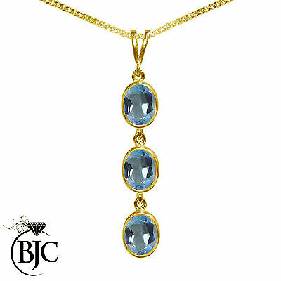 BJC® 9ct Yellow Gold Natural Blue Topaz Triple Drop Oval Pendant & Necklace
