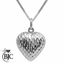 Load image into Gallery viewer, BJC® 9ct White Gold Diamond Cut Hollow Heart Pendant & Necklace P69