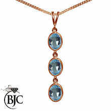 Load image into Gallery viewer, BJC® 9ct Rose Gold Natural Blue Topaz Triple Drop Oval Pendant & Necklace