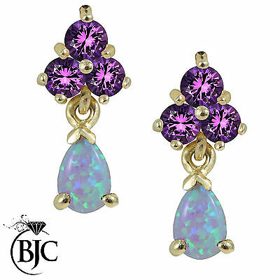 BJC® 9ct Yellow Gold Pear Cut Opal & Amethyst Drop Stud Earrings Studs ER87