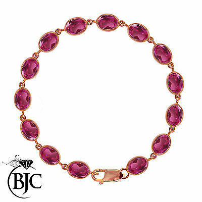 BJC® 9ct Rose Gold Natural Pink Topaz 21.00ct Oval Gemstone Tennis Bracelet