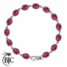 Load image into Gallery viewer, BJC® 9ct White Gold Natural Pink Topaz 21.00ct Oval Gemstone Tennis Bracelet