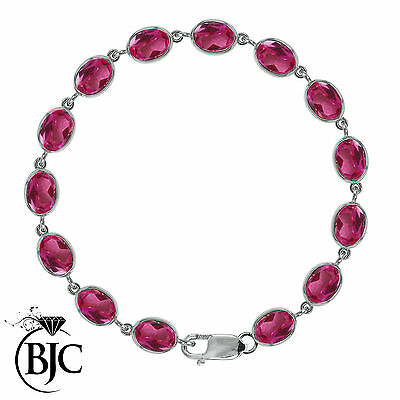BJC® 9ct White Gold Natural Pink Topaz 21.00ct Oval Gemstone Tennis Bracelet