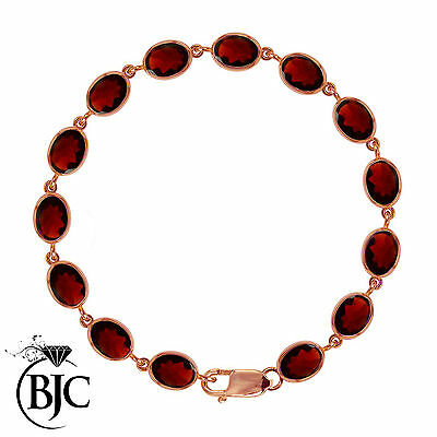 BJC® 9ct Rose Gold Natural Almandine Garnet Oval Gemstone Tennis Bracelet 7.5