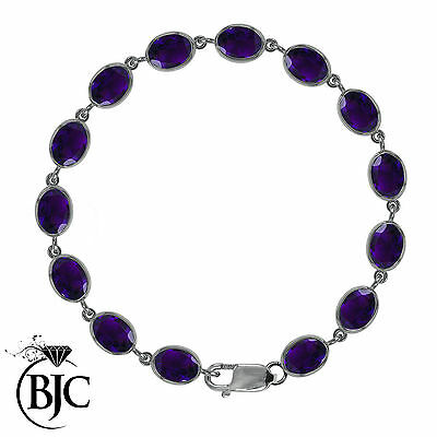 BJC® 9ct White Gold Natural Amethyst 21.00ct Oval Gemstone Tennis Bracelet 7.5