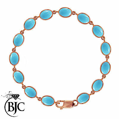 BJC® 9ct Rose Gold Natural Turquoise 21.00ct Oval Gemstone Tennis Bracelet 7.5