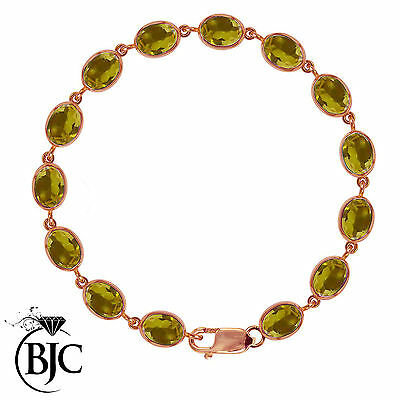 BJC® 9ct Rose Gold Natural Citrine 21.00ct Oval Gemstone Tennis Bracelet 7.5
