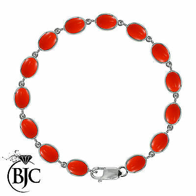 BJC® 9ct White Gold Natural Peach Coral 21.00ct Oval Gemstone Tennis Bracelet