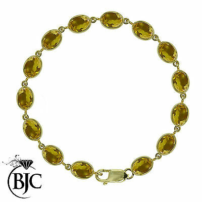 BJC® 9ct Yellow Gold Natural Citrine 21.00ct Oval Gemstone Tennis Bracelet 7.5