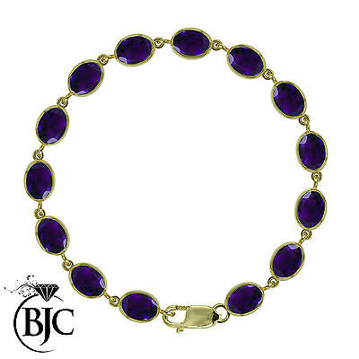 BJC® 9ct Yellow Gold Natural Amethyst 21.00ct Oval Gemstone Tennis Bracelet 7.5