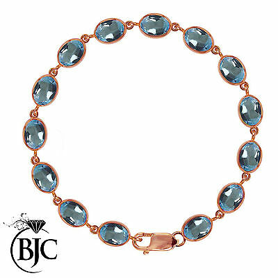 BJC® 9ct Rose Gold Natural Blue Topaz 21.00ct Oval Gemstone Tennis Bracelet