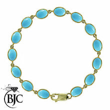 Load image into Gallery viewer, BJC® 9ct Yellow Gold Natural Turquoise 21.00ct Oval Gemstone Tennis Bracelet 7.5