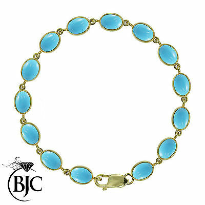 BJC® 9ct Yellow Gold Natural Turquoise 21.00ct Oval Gemstone Tennis Bracelet 7.5