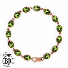Load image into Gallery viewer, BJC® 9ct Rose Gold Natural Peridot 21.00ct Oval Gemstone Tennis Bracelet 7.5