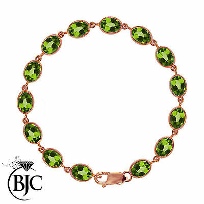 BJC® 9ct Rose Gold Natural Peridot 21.00ct Oval Gemstone Tennis Bracelet 7.5