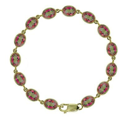 BJC® 9ct Yellow Gold Natural Mystic Topaz 21.00ct Oval Gemstone Tennis Bracelet