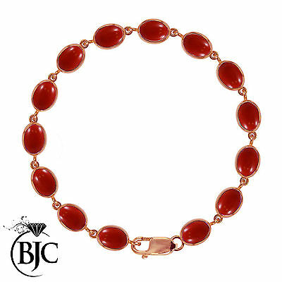 BJC® 9ct Rose Gold Natural Red Coral 21.00ct Oval Gemstone Tennis Bracelet 7.5