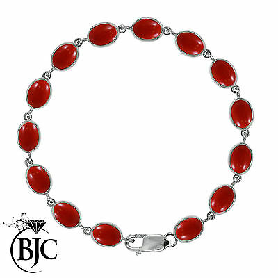BJC® 9ct White Gold Natural Red Coral 21.00ct Oval Gemstone Tennis Bracelet 7.5