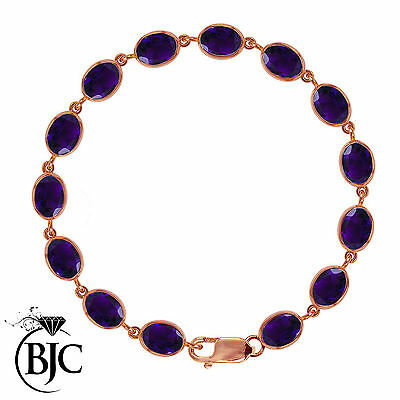 BJC® 9ct Rose Gold Natural Amethyst 21.00ct Oval Gemstone Tennis Bracelet 7.5