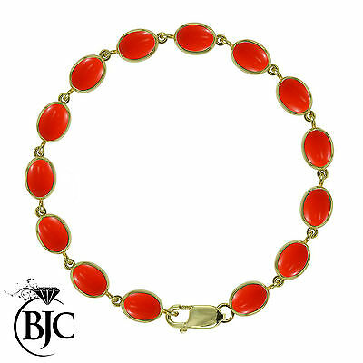BJC® 9ct Yellow Gold Natural Peach Coral 21.00ct Oval Gemstone Tennis Bracelet