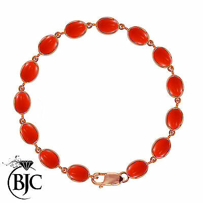 BJC® 9ct Rose Gold Natural Peach Coral 21.00ct Oval Gemstone Tennis Bracelet