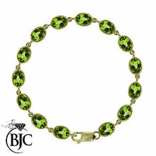 Load image into Gallery viewer, BJC® 9ct Yellow Gold Natural Peridot 21.00ct Oval Gemstone Tennis Bracelet 7.5