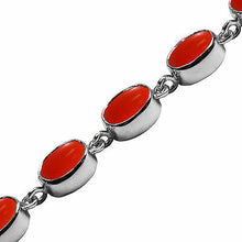 Load image into Gallery viewer, BJC® 9ct White Gold Natural Peach Coral 21.00ct Oval Gemstone Tennis Bracelet