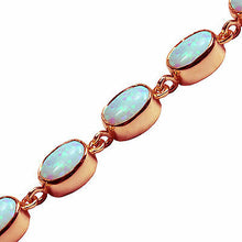 Load image into Gallery viewer, BJC® 9ct Rose Gold Fiery White Opal 21.00ct Oval Gemstone Tennis Bracelet 7.5""