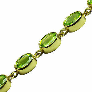 BJC® 9ct Yellow Gold Natural Peridot 21.00ct Oval Gemstone Tennis Bracelet 7.5