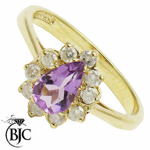 BJC® 9ct Yellow Gold Natural Amethyst & Diamond Pear Cluster Dress Ring R273