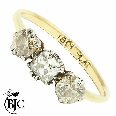 BJC® Antique 18ct yellow gold Diamond 1.00ct Trilogy size M engagement ring R88