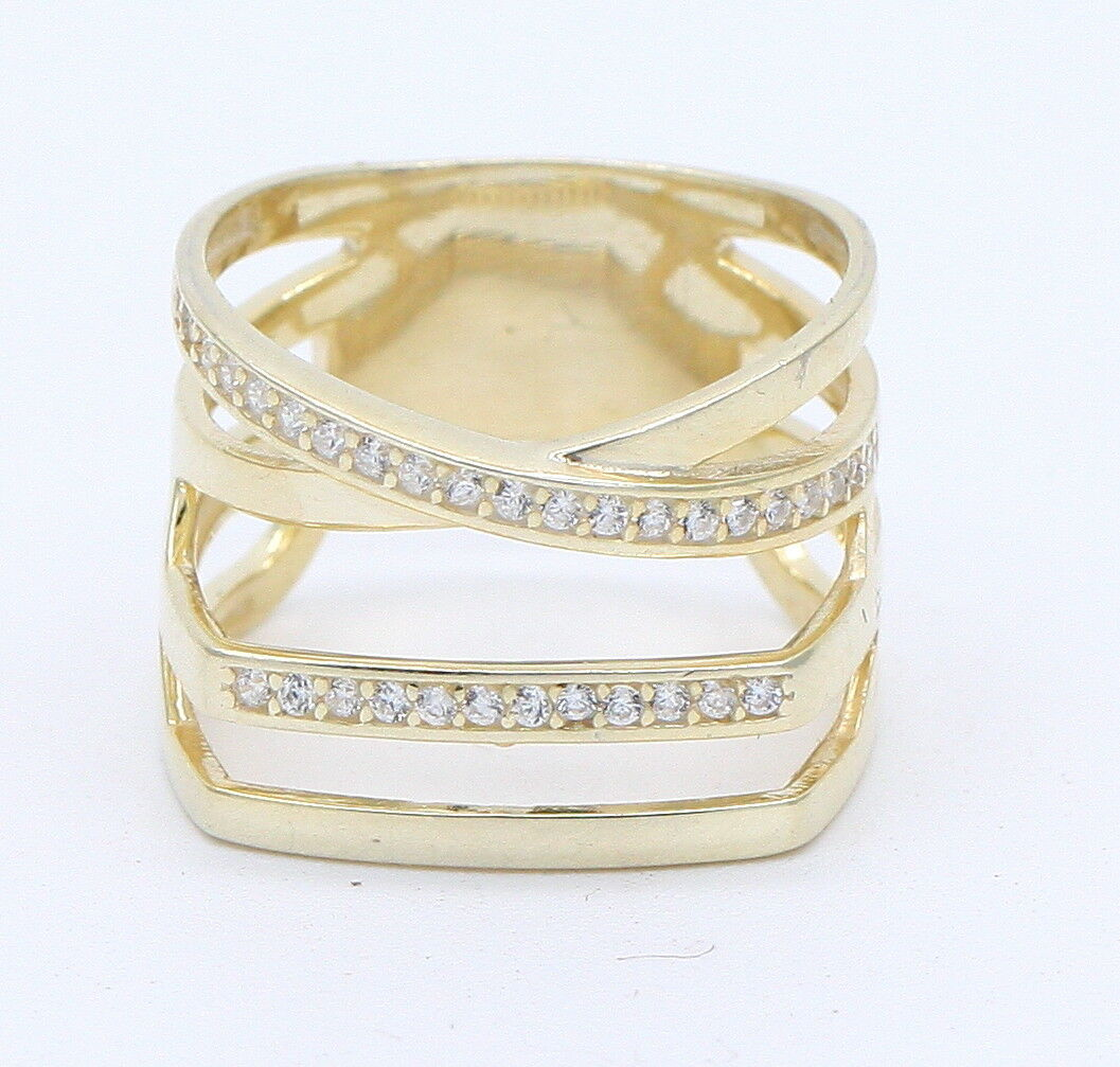 Solid Sterling Silver 18ct Yellow Gold Cubic Zirconia Cocktail Dress Ring New