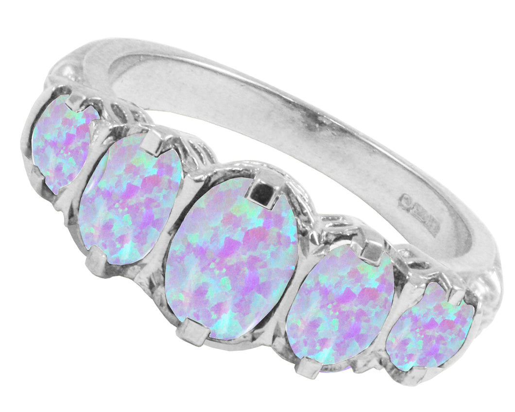 BJC® 9ct White Gold Victorian / Gypsy Style Graduating Opal 5 Stone Ring